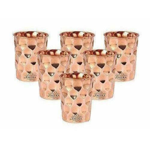 Set OF 6 Hammered Diamond Copper Glass Tumble - Distacart