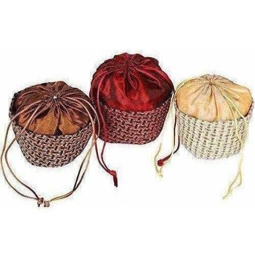 Multicolour Jute Potli Bag - Set of 6