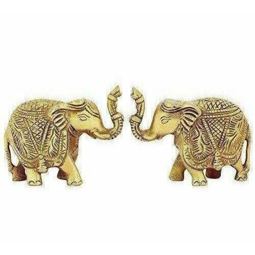 Brass Trunk up Elephant Statues Set of 2 - Showpiece Statue - Dista Cart
