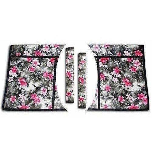 Pink Flower Fridge Top Cover And 2 Fridge Handle Covers