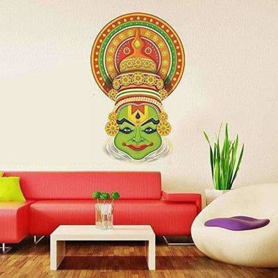 Multi color Traditional Kathakali Dancer Face Wall Sticker - Distacart