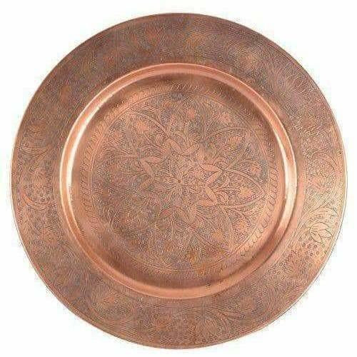 Big Size Brown Pooja Thali Pooja Work ship Plate Thali - Pooja Temple