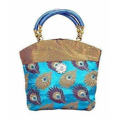 Peacock Print Hand Embroidered Mini Women Handbag - Best For Wedding, Party, Return Gift (Blue)