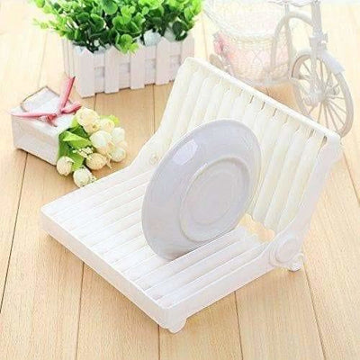 Folding Plastic Kitchen Dish Rack Stand Plate Holder for Bowls Plates - 2 Slots