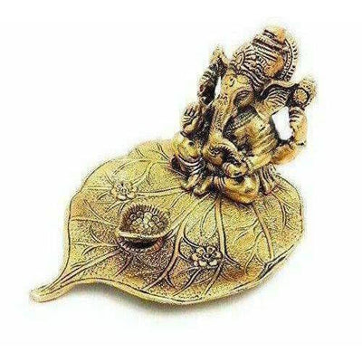 Handicraft Ganesha Sitting on Leaf with Diya Gold Plated for Home Decor