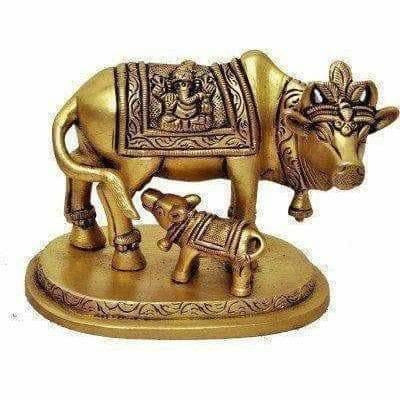 Brass Holy Kamdhenu Cow and Calf Sculpture