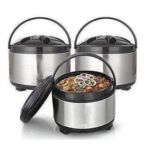 Stainless Steel With Plastic Cover & Bottom Hot-Pot Insulated Casserole Food Warmer - Set Of 3 Pieces