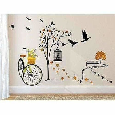 Wall Sticker for Living Room(Ride Through Nature, Ideal Size on Wall : 140 cm x 100 cm),Multicolour