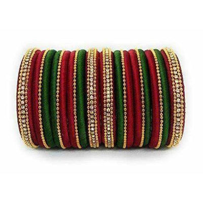 Handmade Silk Thread Bangle Maroon and Green Color - Distacart