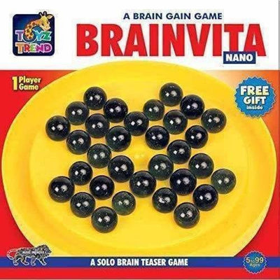 TOYZTREND Mind Challenging and Brain Development Brainvita Mini for Kids with 33 Glass Marbles - Distacart