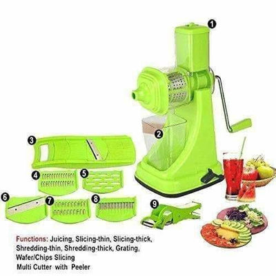 Green Color - Plastic Fruit and Vegetable Juicer Combo Set, 9-Pieces