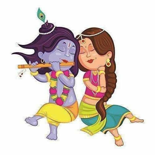 Beautiful Little Radha Krishna Wall Stickers