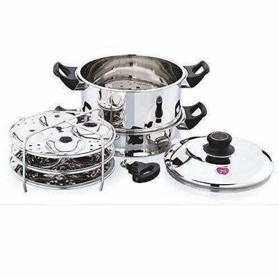 Round Steamer with Fry Pan,Steamer Idly & Dhokla Plate