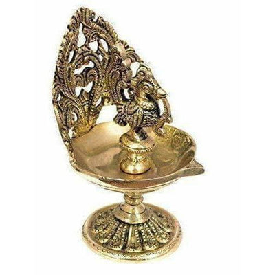Brass Bird Design Oil Lamp