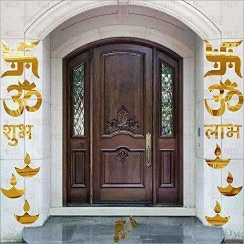 Om Swastik Golden 3D Acrylic Mirror Wall Sticker
