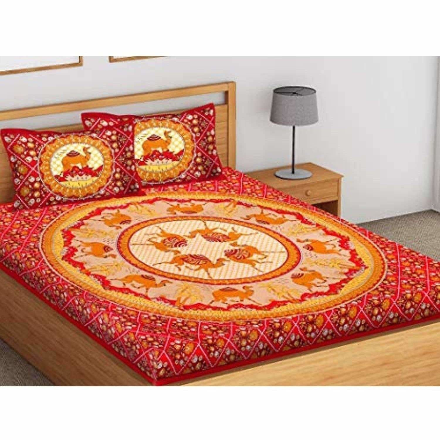 Printed Cotton King Size for Double Bedsheet with 2 Pillow Covers Red Color