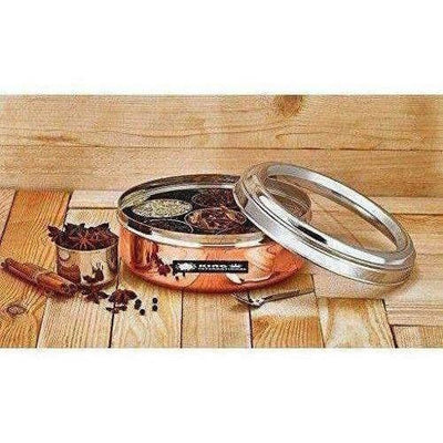 Stainless Steel and Copper Silver Spice Box and German Bowl Set of 3