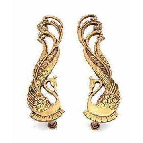 Peacock Design Brass Door Handle Pair (2 pcs)