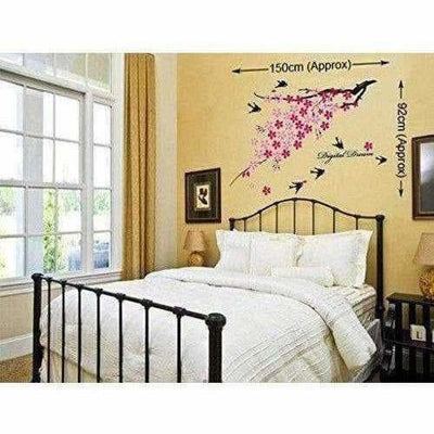 Flower Branch with Birds Wall Sticker - Multi color