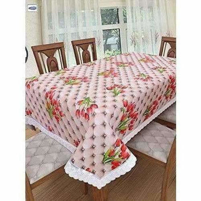Red Roses On Pink Base; Anti Slip,6 Seater