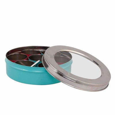 Stainless Steel Made Masala Box Spice Box Masala Dabba Container With Glass Lid 7 Compartments With 1 Spoon