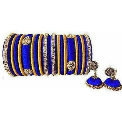 Royal Blue Grand Wedding Silk Thread Bangle Set with Jhumka Ear rings