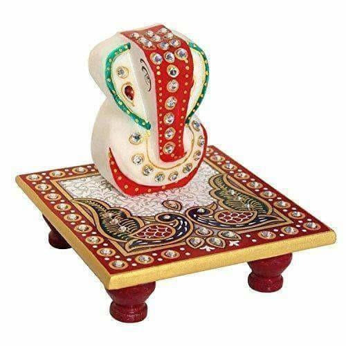 Marble Enamel Painted Ganesha Placed on Chowki (10.2 cm x 10.2 cm x 10.2 cm)