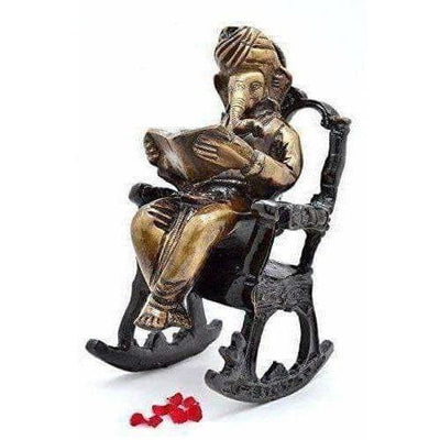 Brass - Ganesha on Rocking Chair - Dista Cart