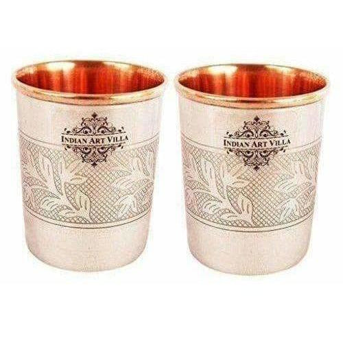 Embossed Design Steel Copper Glass Tumbler (250ml) - Set of 2 - Distacart