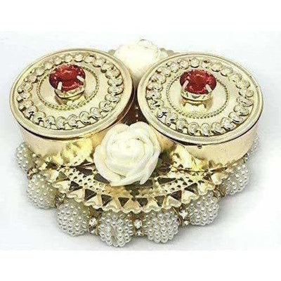 Haldi Kumkum Box Elegant with Lids - Decorated with Flowers - Colored Crystals