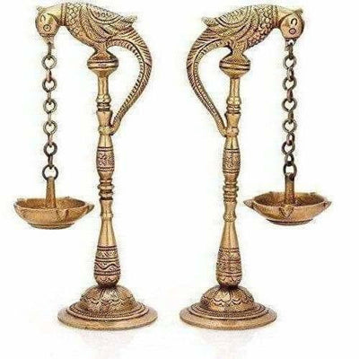 Brass - Pair Of Bird Diya Oil Lamp Stand