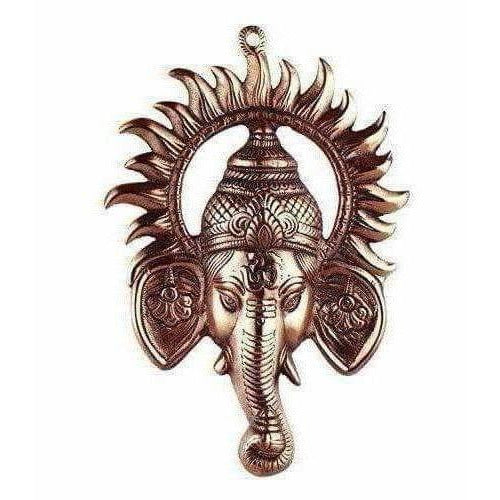 Black Metal Ganesh Ji Face Encircled With Suraj Ji Wall Hanging - Dista Cart