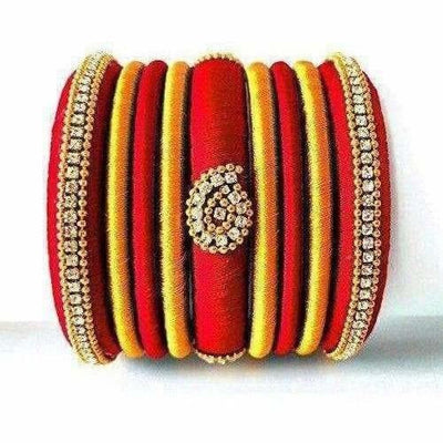Red Grand Wedding Silk Thread Bangle Set with Jhumka Ear rings