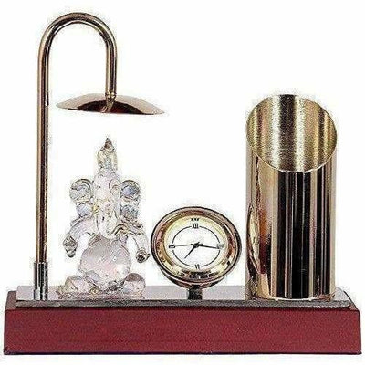 Ganesh Ji Crystal Showpiece Figurine, Classic Table Clock & Stylish Pen Stand,Brass & Stainless Steel In Gold & Silver Plating - Dista Cart