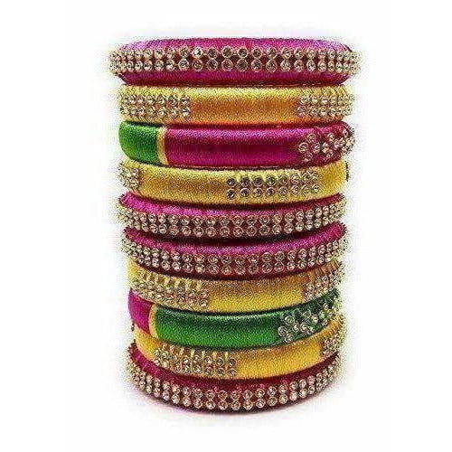 Handmade Silk Thread Colour Combination with Bangle Pink, Yellow & Green