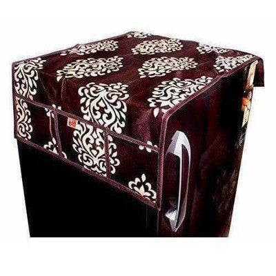 Floral Design Fridge Top Cover with 6 Utility Pockets - Brown Color