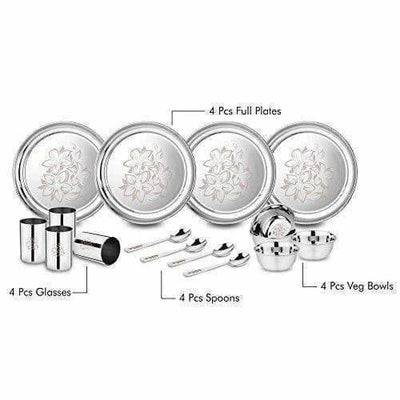 Stainless Steel Glory Dinner Set, 16-Pieces