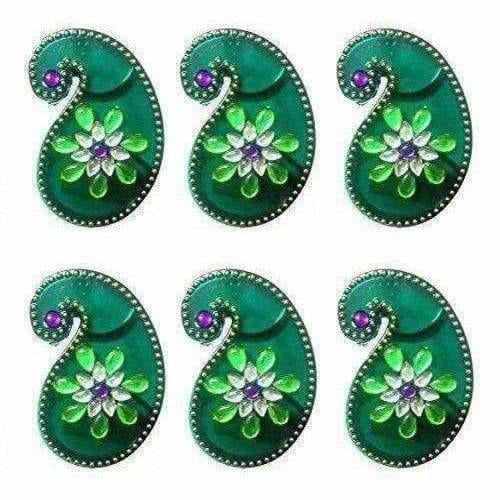 Green Color - Acrylic Kankavati Box Pack of 6