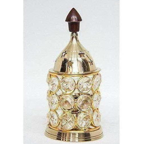 Brass Akhand Diya -Diamond Crystal Deepak - Oil Lamp
