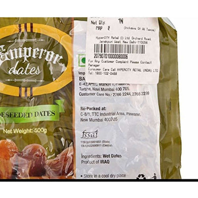 Emperor Seedless Dates - Deseeded  500g Pouch