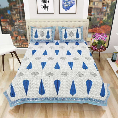 Queen Size 90x108 Inches Jaipuri Sanganeri Print Flat Bed Sheet Bedspread with 2 Pillowcases