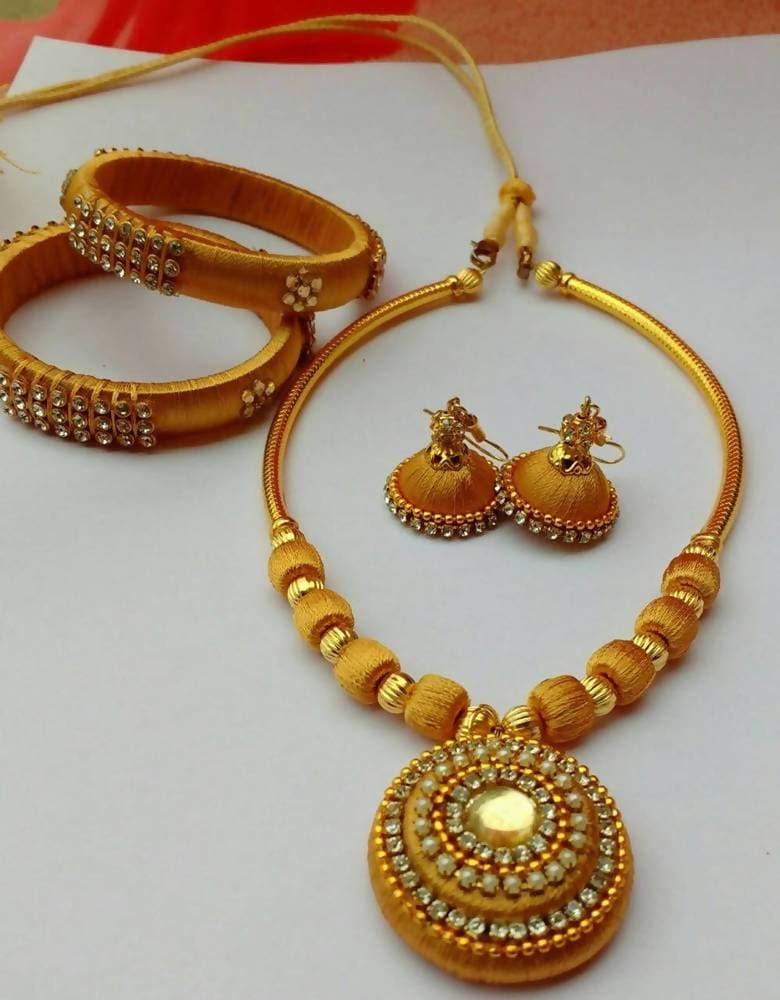 Silk Threaded Gold Color Beads with Necklace Set, Earrings And Bangles