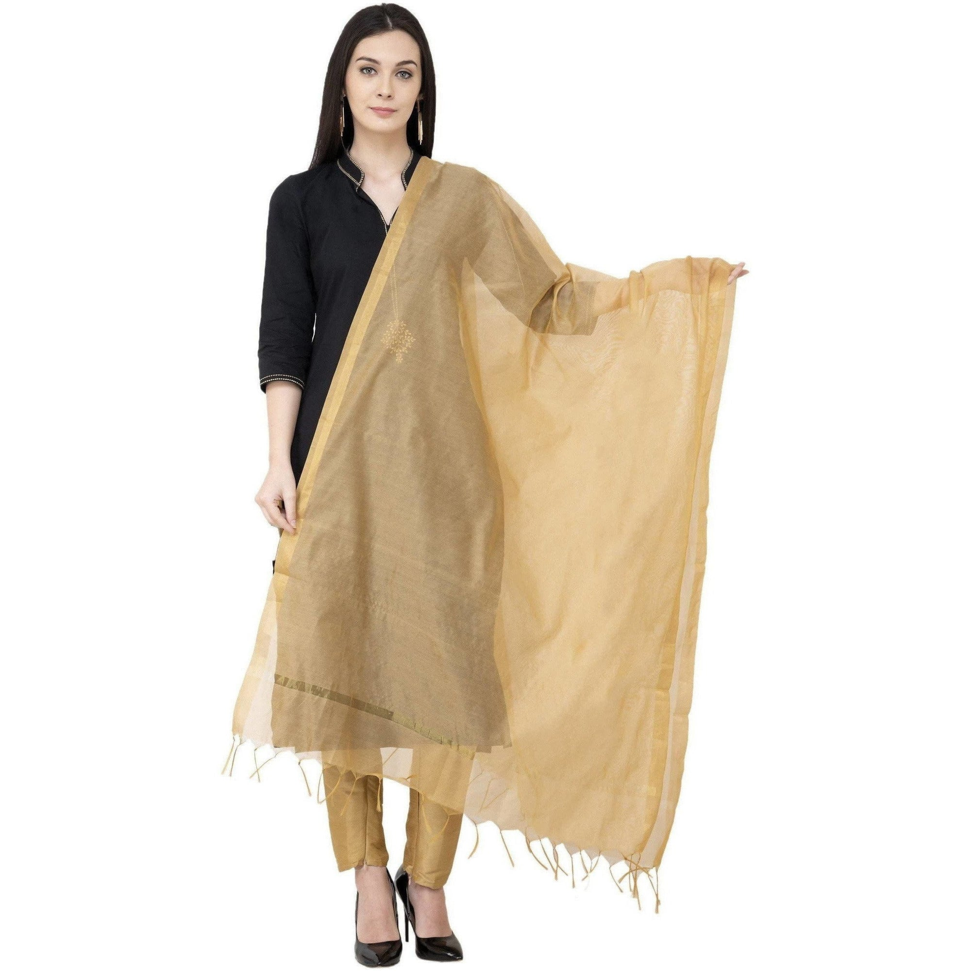 A R SILK Chanderi Piping Regular Dupatta Golden Color Dupatta or Chunni