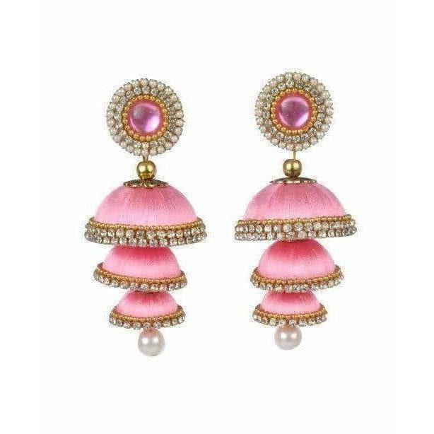 Baby Pink Color - 3 Step Jhumki Earrings - Dista Cart