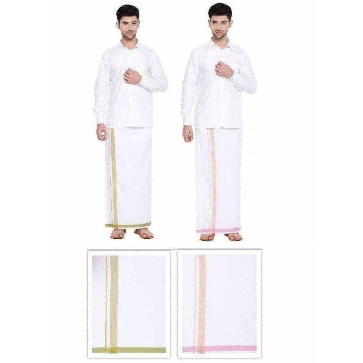 Ramraj 2Way Dhoti Jari Border - Pink and Green