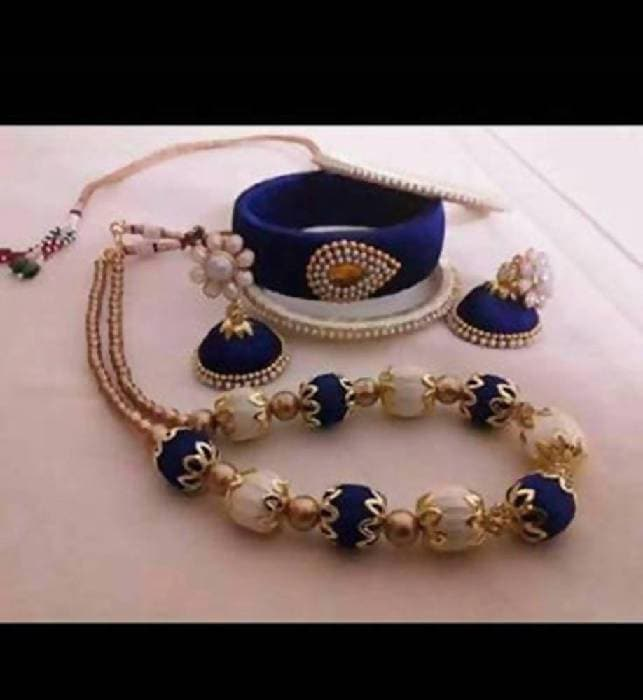 White and Blue Color Silk Threaded Necklace Set , Earrings And Bangles Set Of 2