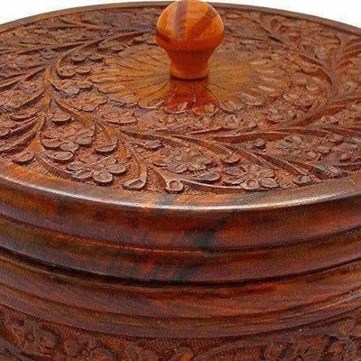 Handcrafted Wooden Box Pot Serving Bowl with Lid