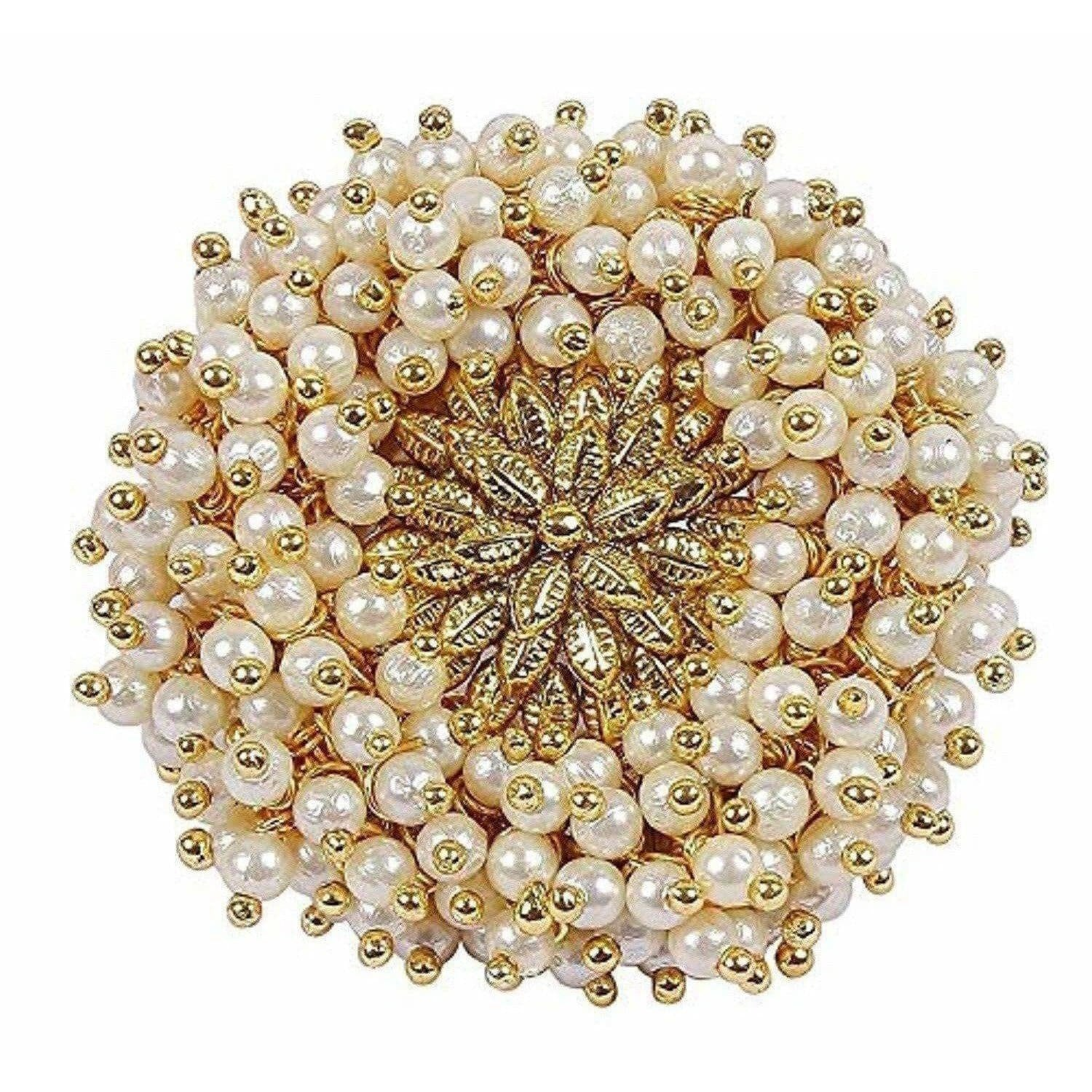 Gold Plated Pearl Beads Polki Ring - Distacart
