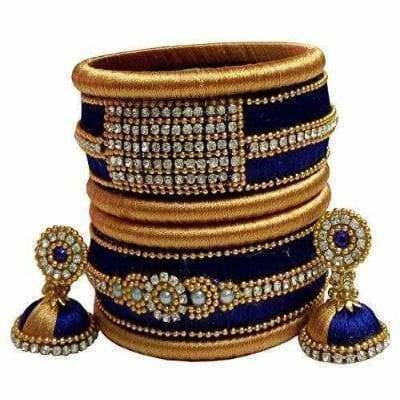 Silk thread bangles and ear rings - Distacart