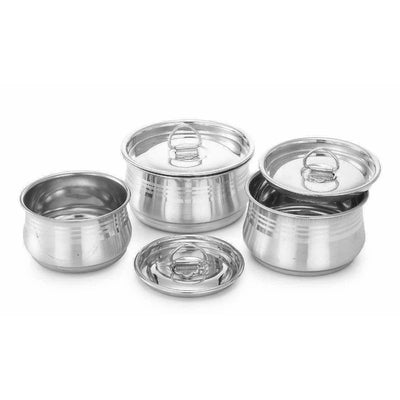 Stainless Steel Cooking & Serving Dish Pot Set of 3